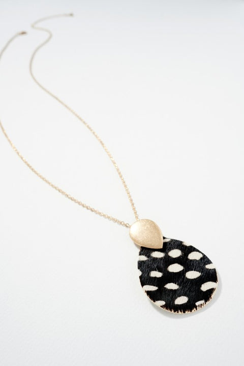 Animal Print Calf Leather Pendant Necklace