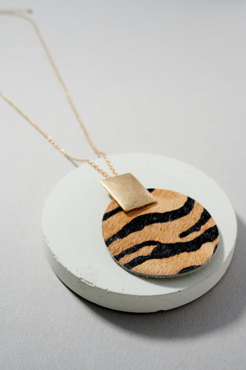 Animal Calf Hair Round Pendant Long Necklace