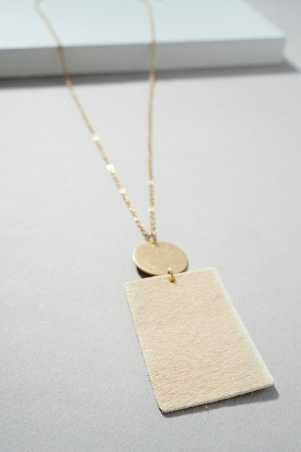 Rectangular Shape Calf Leather Pendant Necklace