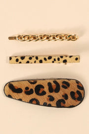 Set of 3 Animal Print Leather Hair Clips