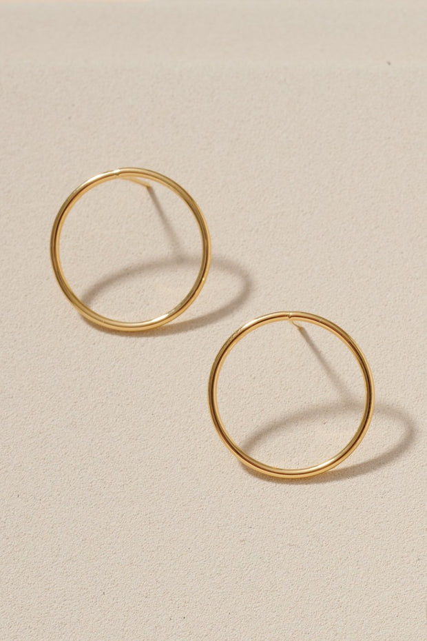 Simple and Thin Hoop Gold Dipped Post Earrings