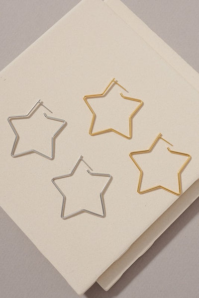 Star Shaped Large Hoop Gold Dipped Earrings