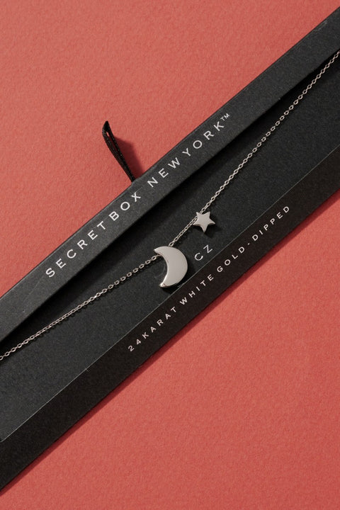 Moon and Star Charm Choker Necklace