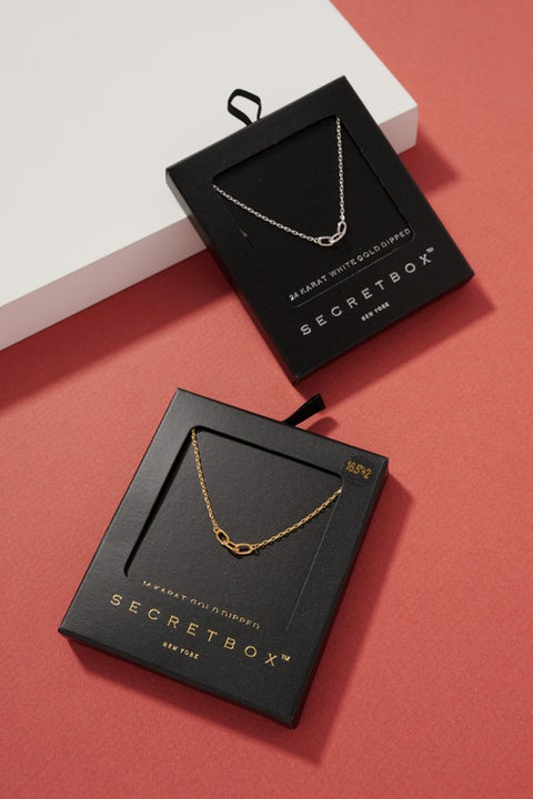 Secret Box Chain Link Pendant Gold Dip Necklace