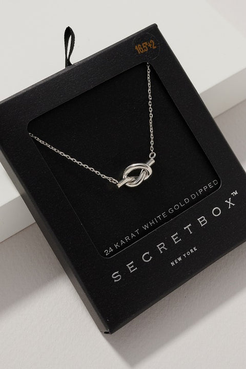 Secret Box Knot Charm Gold Dipped Necklace