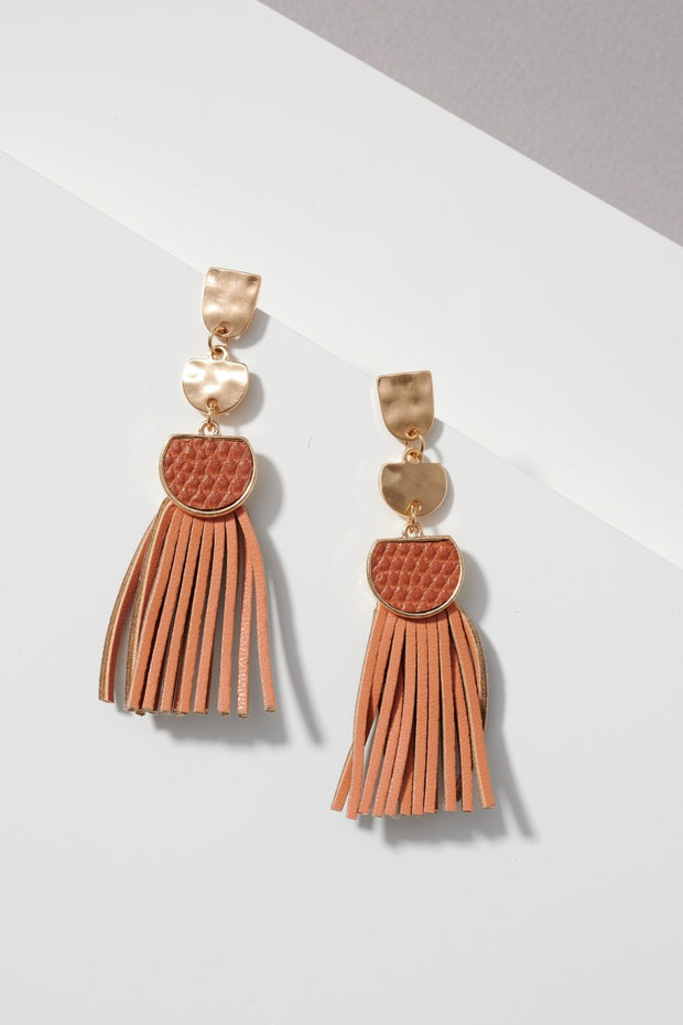 Snake Skin and Leather Tassel Drop Post Earrings