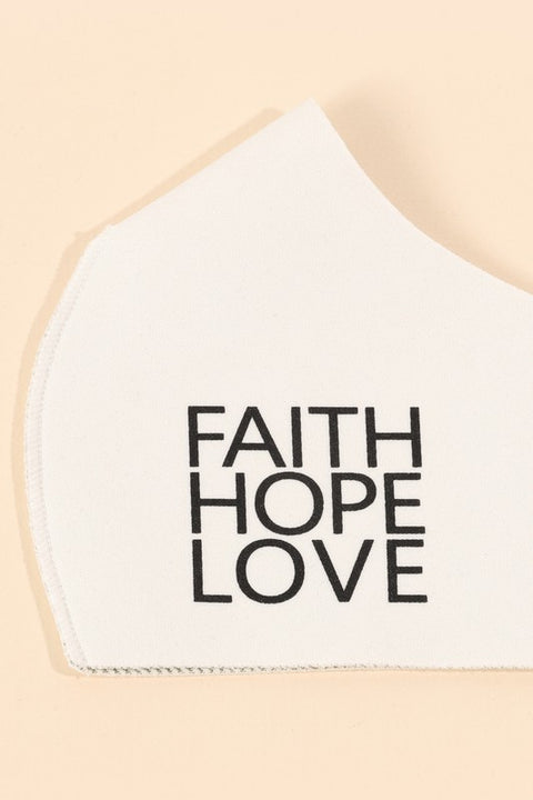 Faith Hope Love Print Copper Infused Face Mask
