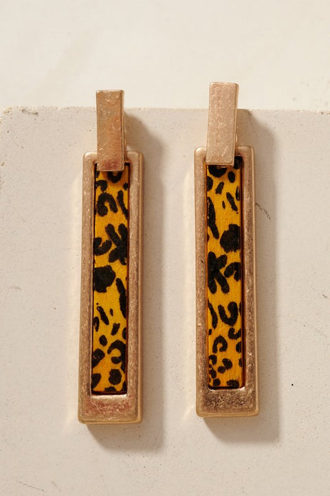 Leopard Print Wooden Bar Earrings