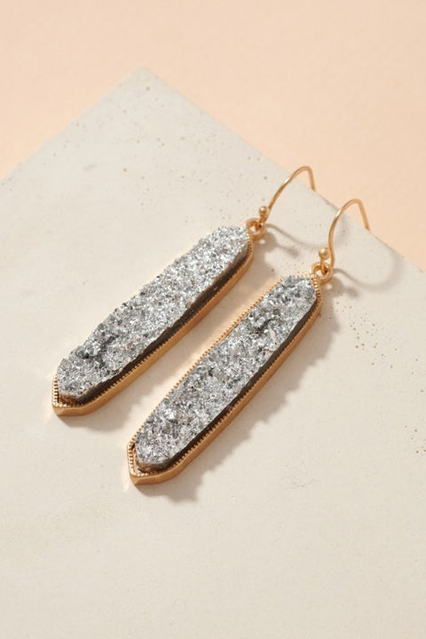 Druzy Stone Bar Dangling Earrings