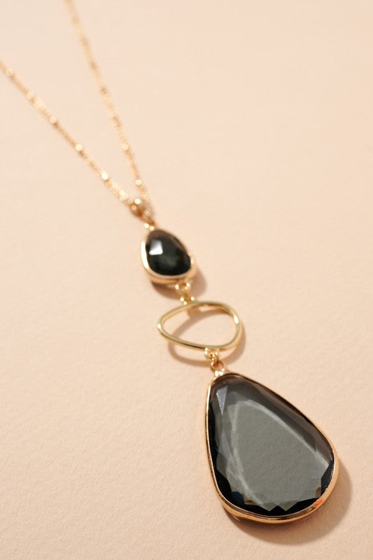 Glass Stone Pendant Long Necklace