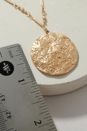 Textured Metal Coin Charm Toggle Necklace