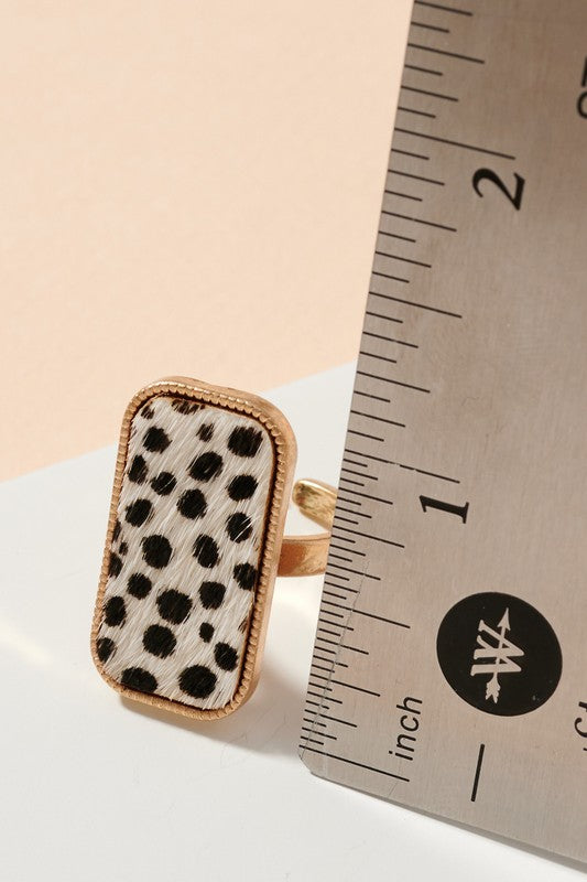 Animal Print Calf Hair Rectangular Ring