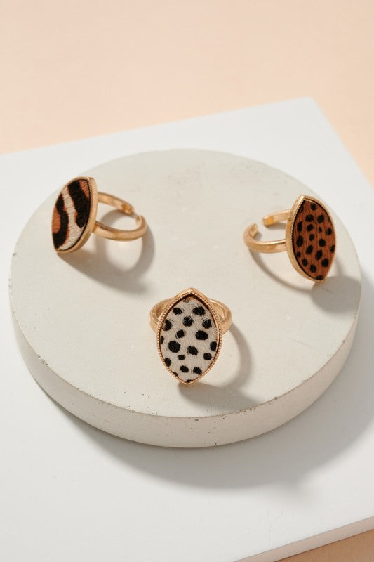 Animal Print Calf Hair Oval Ring
