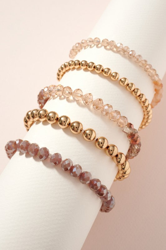 Glass Metal Beaded Stretch Bracelet Set