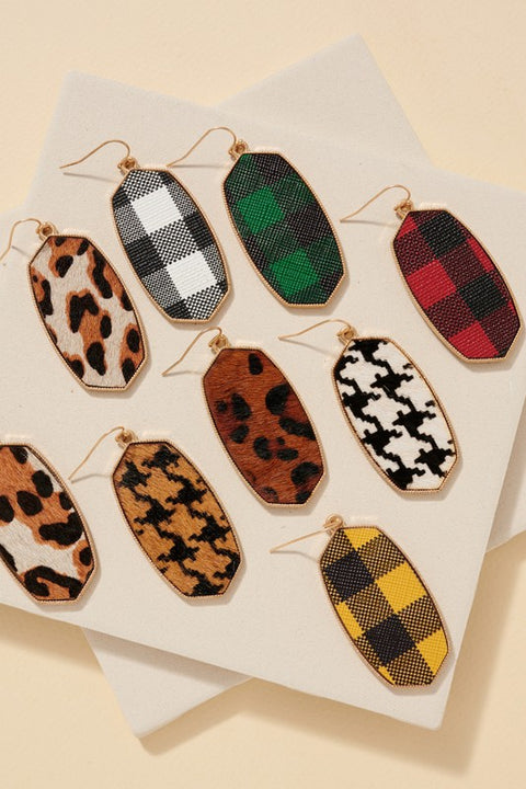 Buffalo Check PU Leather Earrings