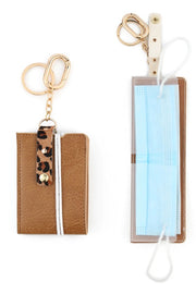 Animal Print Accent Mask Holder Key Chain