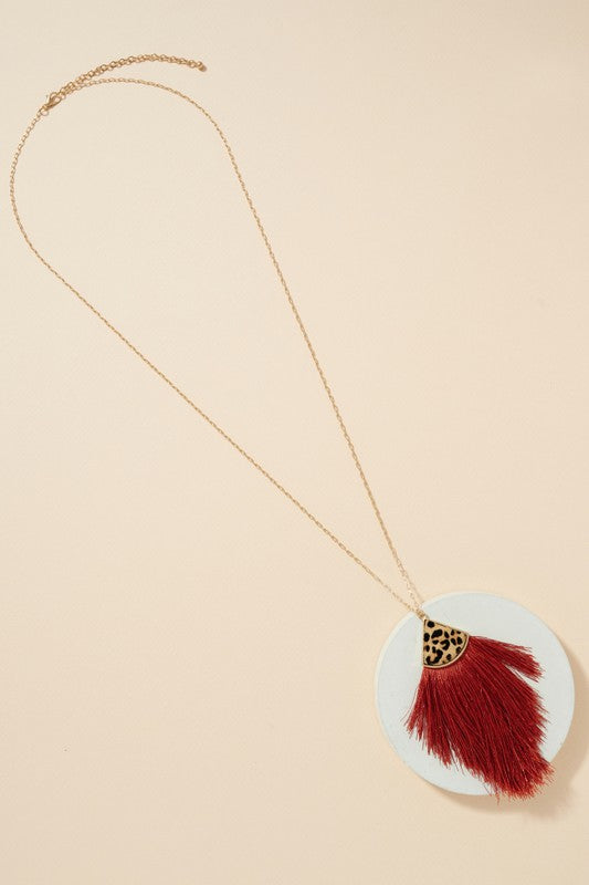 Animal Print Tassel Pendant Long Necklace
