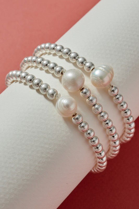 Pearl Metal Beaded Bracelet Set