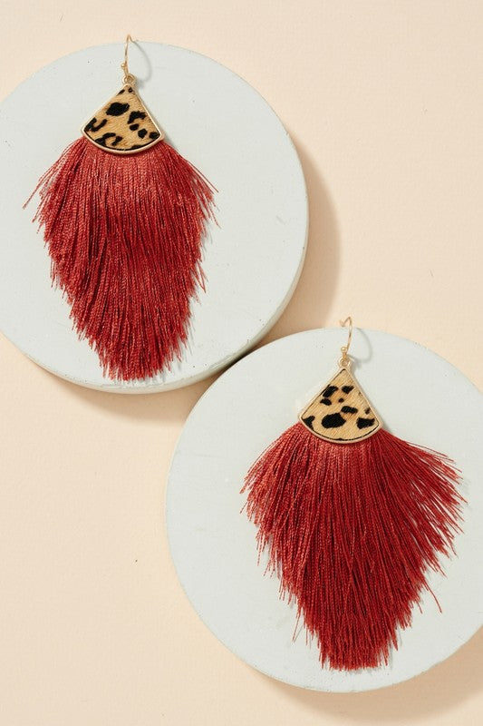 Animal Print Tassel Dangling Earrings