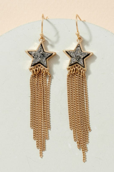 Druzy Stone Star Chain Tassels Earrings