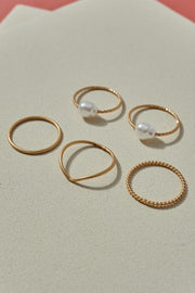 Pearl Charm Twisted Curved Metal Rings Set