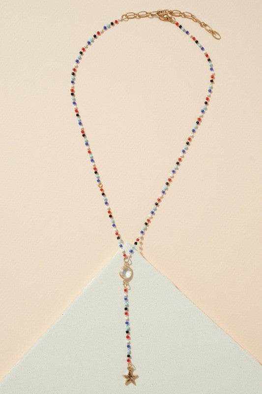 Star Charm Seed Beaded Y Shape Necklace