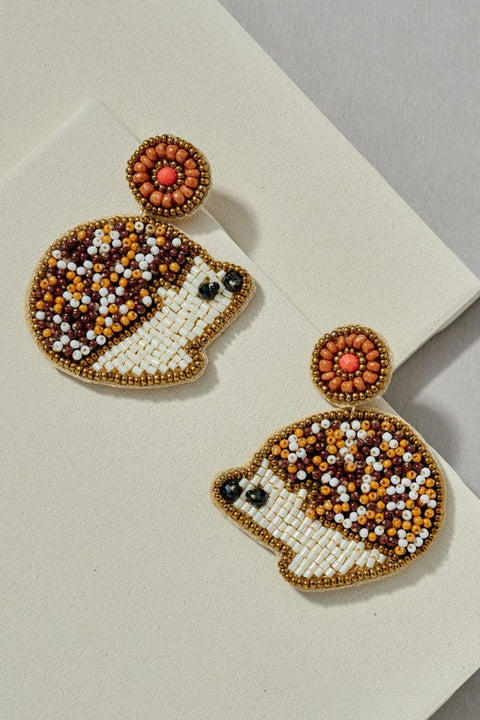 Hedgehog Seed Beaded Stud Earrings