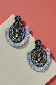 Beads Rhinestones Fringed Oval Earrings