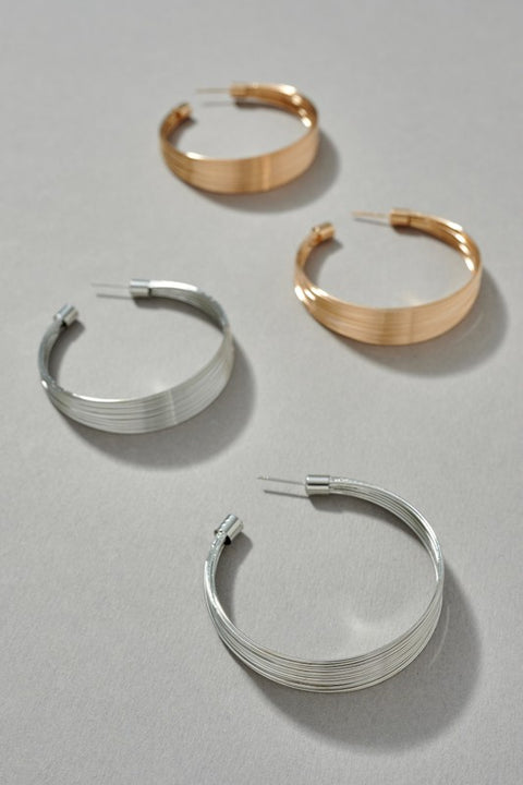 Wired Metal Hoop Earrings