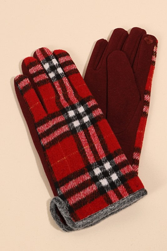 Plaid Print Touch Screen Gloves