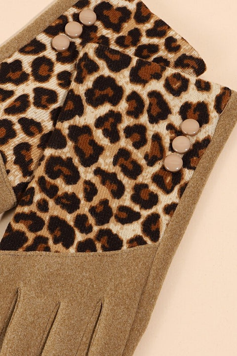 Leopard Pattern Touch Screen Gloves