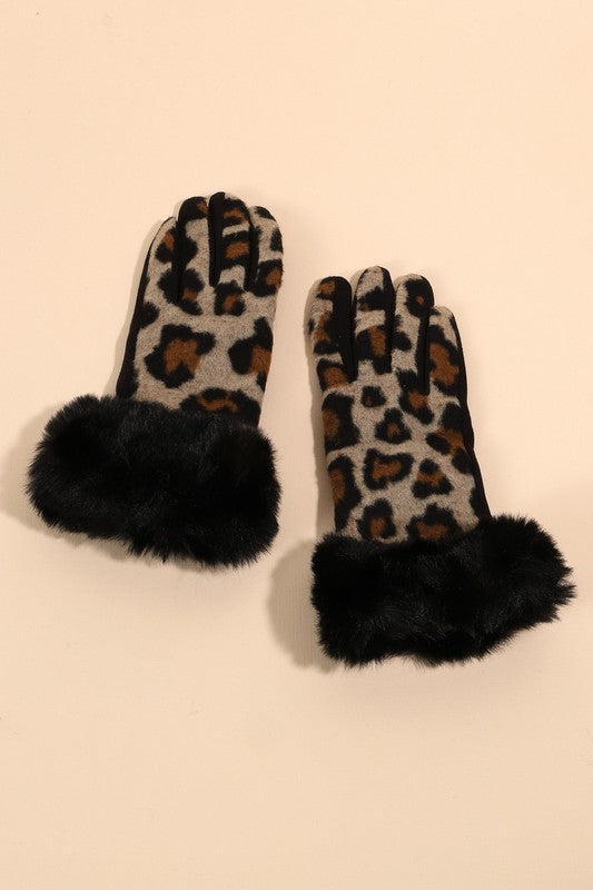 Leopard Pattern Faux Fur Edge Gloves