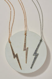Thunder Bolt Rhinestones Pendant Necklace