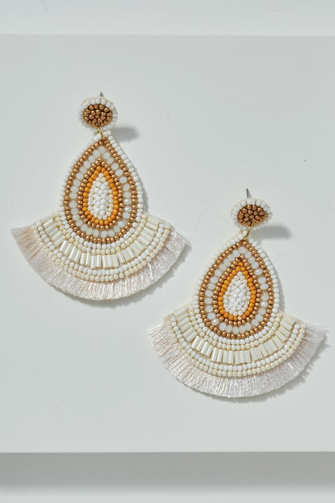 Seed Beads Fringed Tear Drop Earrings