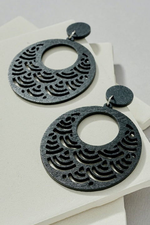 Open Round Wooden Earrings