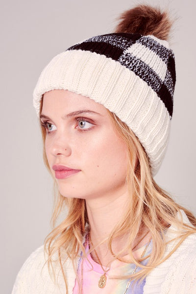 Buffalo Check Pattern Knit Pom Pom Beanie