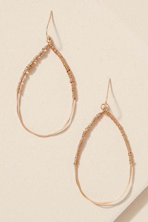 Wire Twisted Tear Drop Earrings