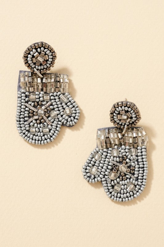 Snow Flake Gloves Beaded Earrings