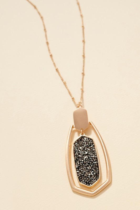 Crystal Dust Filled Pendant Long Necklace