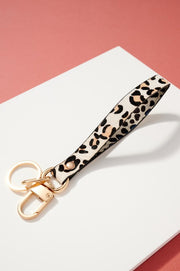 Animal Print PU Calf Hair Key Strap