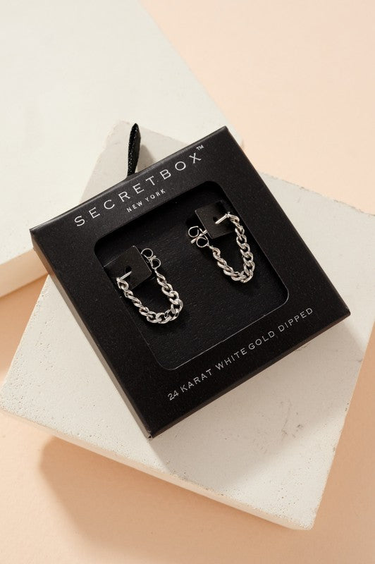 Secret Box Chain Hoop Earrings