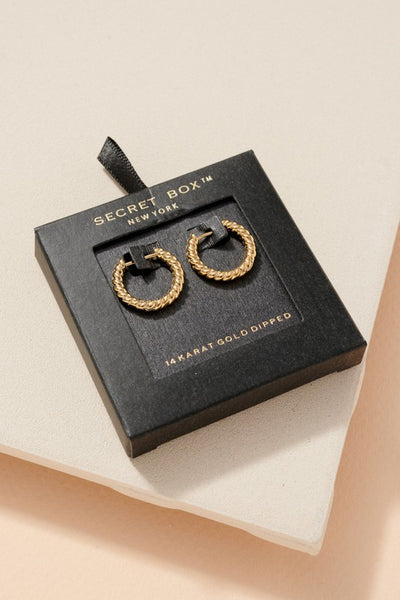 Secret Box Twisted Gold Dip Hoop Earrings