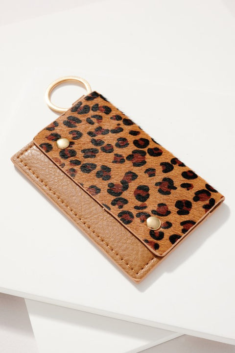 Animal Print Leather ID Pocket Key Chain