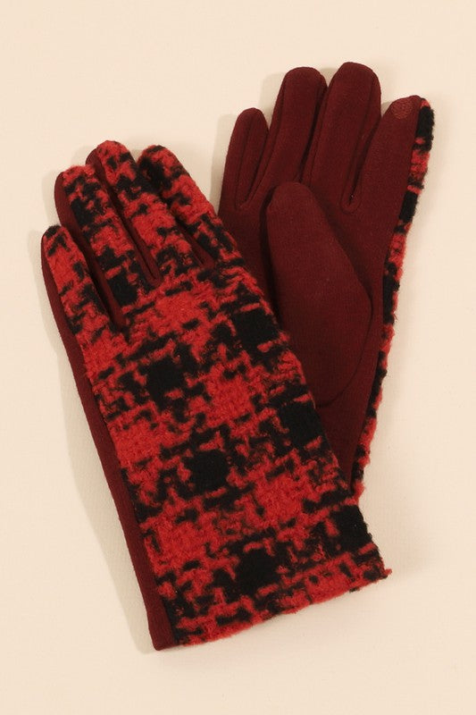 Houndstooth Print Gloves