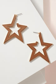 PU Leather Star Open Hoop Earrings