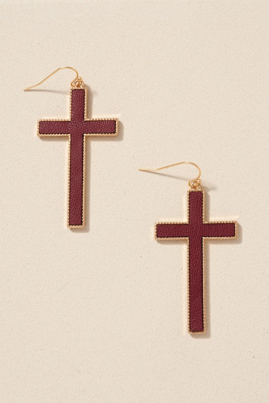 Plain Color Leather Cross Earrings