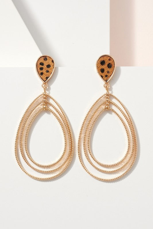 Animal Print Calf Hair Layered Earrings