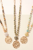 Coin Charm Stone Beaded Long Necklace