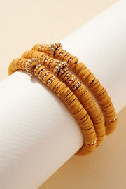 Set of Stretch Bracelets with Rubber and Metal Cut