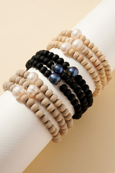 Fresh Water Pearl Wood Beaded Bracelet Set